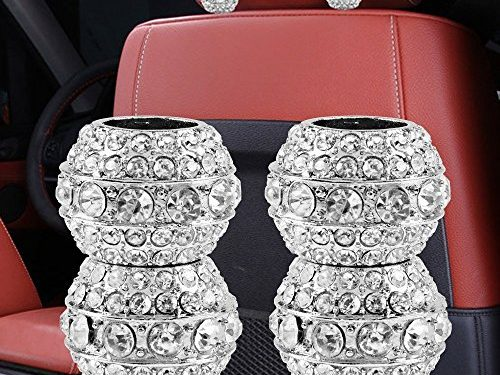 Sino Banyan Headrest Collar For Car Interior Decoration,Chrome Crystal Bling Style4 Pack