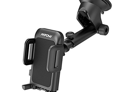 Mpow Upgrade Dashboard Car Phone Mount ,Adjustable Windshield Washable Holder Cradle with Strong Sticky Gel Pad for iPhone X/8/8Plus/7/7Plus/6s/6P/5S, Galaxy S5/S6/S7/S8, Google, LG, Huawei etc