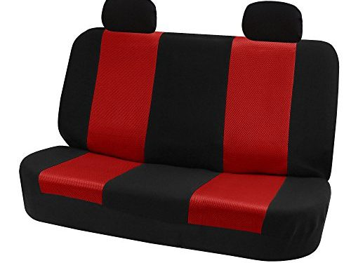 FH GROUP FH-FB102R012 Classic Solid Bench Car Seat Cover Red / Black- Fit Most Car, Truck, Suv, or Van
