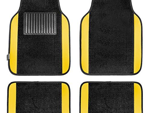 FH Group F14407YELLOW Premium Full Set Carpet Floor Mat Sedan and SUV with Driver Heel Pad Yellow