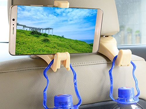 Set of 2 Beige – Hooks for Headrest in Car Universal With phone bracket for Bag Purse Cloth Grocery