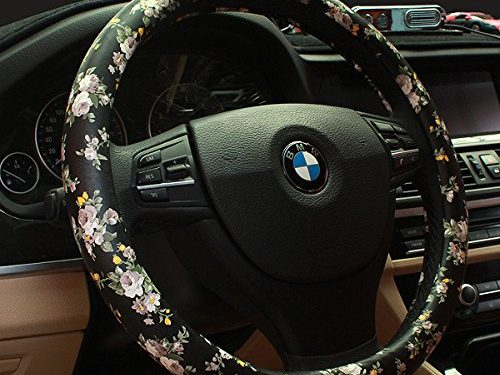 BINSHEO PU Leather Auto Car Steering Wheel Cover,for Women Girls Ladies,Anti Slip Non-toxic Universal 15 inch,Chinese Style,Black with Flowers