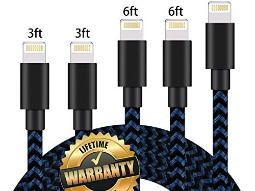 GUIGUI iPhone Charger 5Pack 3FT 3FT 6FT 6FT 10FT, Extra Long Nylon Braided Charging Cord Lightning Cable to USB Charger for iPhone X, 8, 7, 7 Plus, 6S, 6, SE, 5S, 5, iPad, iPod Nano 7 Black Blue
