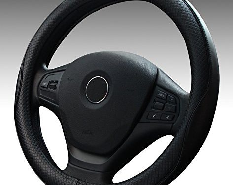 Premium Genuine Leather Steering Wheel Cover Universal 15 Inch – Anti-Slip Solid and Has Decent Traction Black
