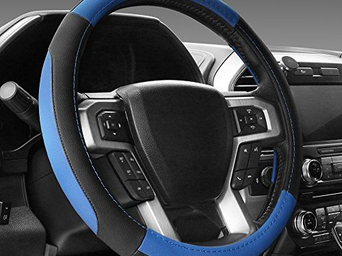 SEG Direct Black and Blue Microfiber Leather Steering Wheel Cover For F-150 Tundra Range Rover 15.5″ – 16″