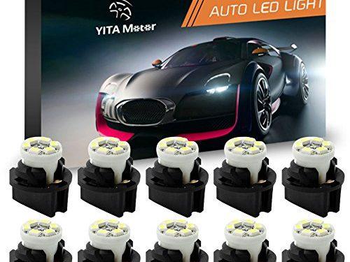 YITAMOTOR 10x T10 194 LED Light Bulb 168 LED Bulbs Bright Instrument Panel Gauge Cluster Dashboard LED Light Bulbs &10 Twist Lock Socket White