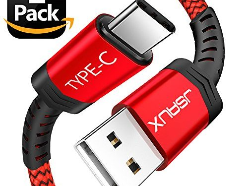 USB Type C Cable,JSAUX2-Pack 6.6FTUSB A 2.0 to USB-C Fast Charger Nylon Braided Cord for Samsung Galaxy S9 S8 plus Note 8,Moto Z Z2,LG V30 V20 G5 G6,Google Pixel XL,Nintendo Switch and MoreRed