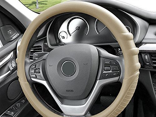 FH Group FH3003BEIGE Beige Steering Wheel Cover Silicone W. Grip & Pattern Massaging grip Beige Color-Fit Most Car Truck Suv or Van