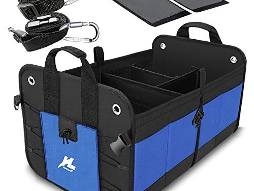Car Trunk Storage Organizer, Auto Portable Collapsible Trunk Organizer H-Zonealp Heavy Duty Cargo Storage Carrier with Straps for Car/Truck/SUV/Van NEW Version