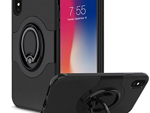 iPhone X Case, Amuoc iPhone X Case with Ring Holder Kickstand Ring Stand Grip With Metal Patch Shock Absorbing Bumper soft TPU inner Hard PC Back Cover for Apple iPhone X / iPhone 10 5.8″-Black,/