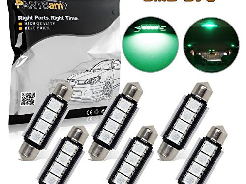 Partsam 6pcs Green 41mm 42mm Festoon 4-5050-SMD LED Lights Interior Dome Map Trunk Cargo Footwell Replacement Bulbs Lamp 12V 561 562 578 211-2