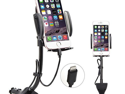AUOPLUS Cigarette Lighter Phone Holder Car Mount Charger 3.1A Dual USB Ports with Built-in Charging Cord for iPhone