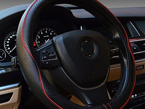Car Steering Wheel Cover Genuine Leather Universal 15 Inch – Red Stitching is Subtle and Nice for Car/Truck/Van/SUV Black&Red