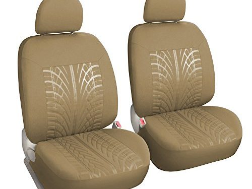 Leader Accessories Paif of Car Front Seat Covers with Airbag Embossed Low Back Seat Protector, Universal Fit, Tan Color