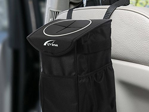 DYTesa Waterproof Car Trash Can,Adjustable Strap Car Trash Bag with Cover and Storage Pockets,Collapsible Car Garbage Can Suits for Headrest and Car Door10 PCS Garbage Bags Included