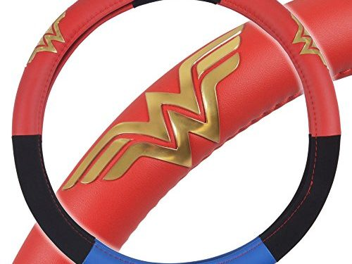 Stars & Gold Logo – BDK Wonder Woman Steering Wheel Cover – Synthetic Leather