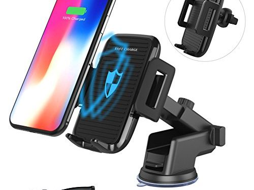 Wireless Car Charger, AQQEF QI Adjustable Fast Wireless Charger Mount for iPhone X iPhone 8/8 Plus, Samsung Galaxy S9/S9 Plus Note8 S8/S8 Plus S7 S7 Edge and other Qi-enabled Devices Black