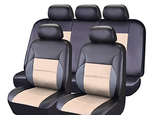 Black and Beige – CAR PASS 11 Pieces Leather Universal Car Seat Covers Set