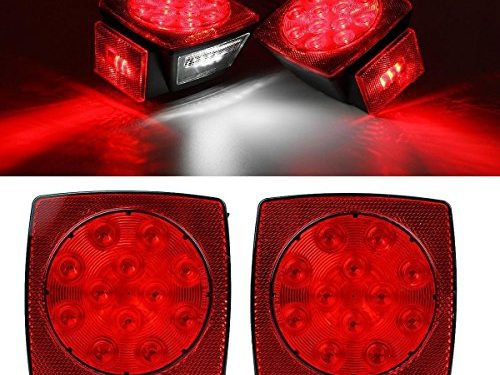 Partsam 2pc Submersible Square Red White LED Stop Turn Tail License Brake Trailer Light kit Sealed 12V for Camper Truck RV Boat Snowmobile Under 80″ Inch Marine