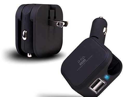Black – iHip USB Wall Car Charger Combo 10W 2.1A 2-in-1 Dual Port Car Travel Charger, Home Wall Adapter With Foldable Plug For iPhone X/8/8Plus/7/6/6Plus/5s, iPad, Samsung Devices, HTC Kindle