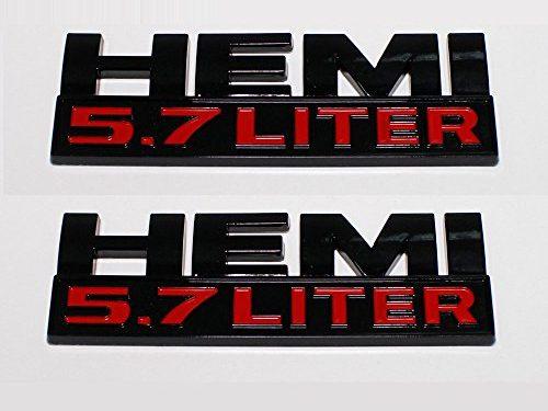 2PCS 5.7 6.4 LITER HEMI Car-styling Metal HEMI Car Stickers Decorations for Compass Grand Cherokee Patriot Renegade Wrangler Black 5.7