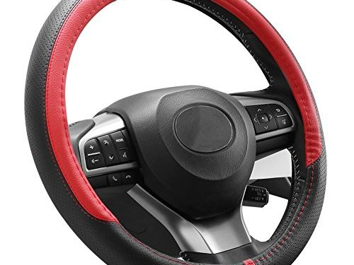 COFIT Breathable and Non Slip Microfiber Leather Steering Wheel Cover Universal 15 Inch – Red and Black