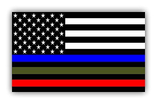 Police Military and Fire Thin Line USA Flag Decal American Flag Sticker Blue Green and Red stripe for cars trucks for honor and support our officers and troops Window Bumper 5 x 3 inch 3 PACK