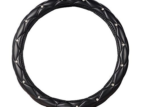Sino Banyan Crystal Diamond Steering Wheel Cover,PU Leather Auto Truck Skidproof Soft ,15″,Black