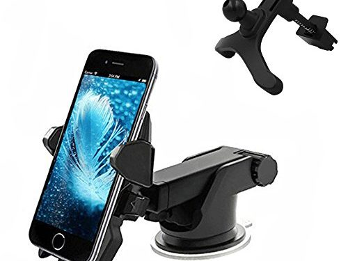 Car Phone Mount,Wuedozue 2 in 1 Universal Windshield Dashboard 360 Rotating+Adjustable Distance Air Vent Car Mobile Phone Holder with Sucker for iPhone X/8/7/Samsung Galaxy S8 and More Black