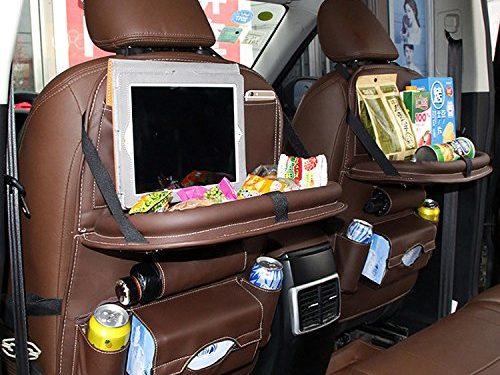 EVAJULLY Car Back Seat Organizer with Kids Toy Bottles Storage Foldable Dining Table ,8 Compartments including iPad Holder