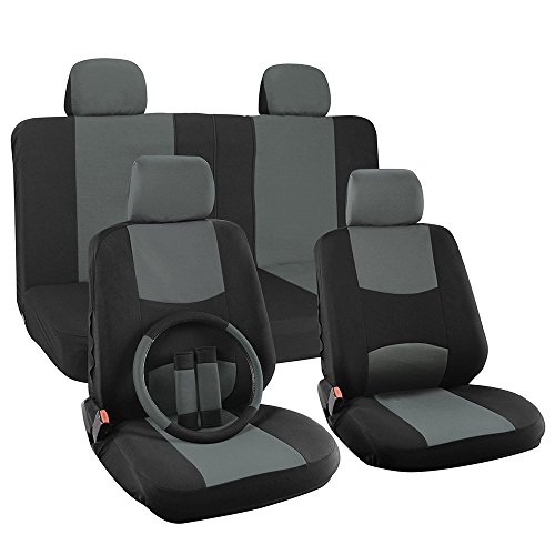 NEW PAIR OF BLACK VINYL JEEP LOGO CAR TRUCK SUV FRONT SIDELESS SEAT COVERS