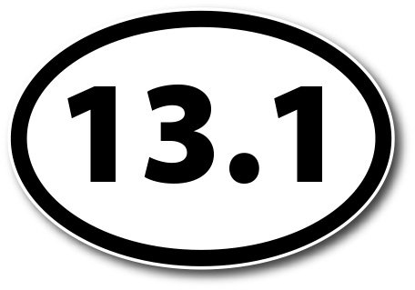 13.1 Half Marathon Black Oval Car Magnet Decal Heavy Duty Waterproof