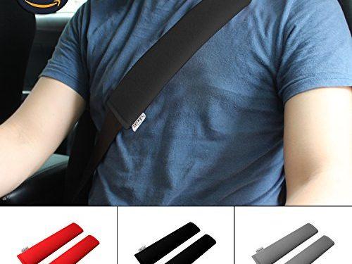 GAMPRO Car Seat Belt Pad Cover, 2-Pack Soft Car Safety Seat Belt Strap Shoulder Pad for Adults and Children, Suitable for Car Seat Belt, Backpack, Shoulder BagBLACK