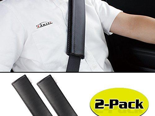 GAMPRO 2-Pack Carbon Fiber Car Seat Belt Pad Cover, Soft Car Safety Seat Belt Strap Shoulder Pad for Adults and Children, Suitable for Car Seat Belt, Backpack, Shoulder Bag2-Pack