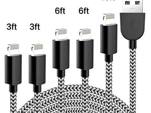 Phone Charger Extra Long Lightning Cable USB Charger Cord Nylon Braided 8 Pin Compatible with iPhone X/8/8 Plus/7/7 Plus/6/6 Plus/6S/6S Plus/5/5S/SE,iPad,iPod black and white black and white