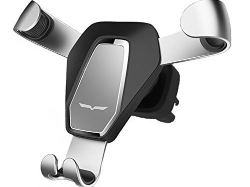 Wuedozue Universal Gravity Air Vent Phone Car Mount Holder Free Angle Rotation for Mobile Phone, iPhone X/8/8 Plus/7/7 Plus, Samsung S8/S8 Plus/Note 8, Google Pixel 2 XL, Huawei and More Silver