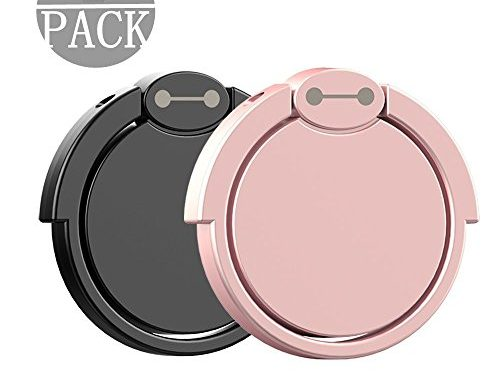 Finger Ring Stand 2 Pack, Muanbol 360¡ã Rotary Cell Phone Holder Finger Loop Grip Mount Universal Smartphone Kickstand for iPhone 6/6s Plus, iPhone 7/7 Plus, Samsung Galaxy S8/S8 -Black+ Rose gold
