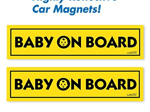 Wall26 Reflective Baby On Board Magnetic Car Signs/ Bumper StickersSet of 2 Safety Caution Sign