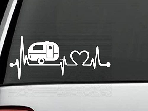 F1026 Camper Travel Trailer Heartbeat Lifeline Decal Sticker