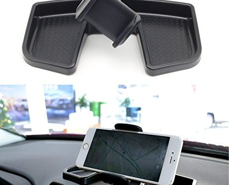 EnRand Jeep Renegade Phone Iphone Holder, 360 Degree Rotate With ABS Storage Box, Auto Mobile Stand Kit, Black