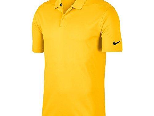 Nike Dri Fit Victory Solid Golf Polo 2018 Amarillo/Black Large