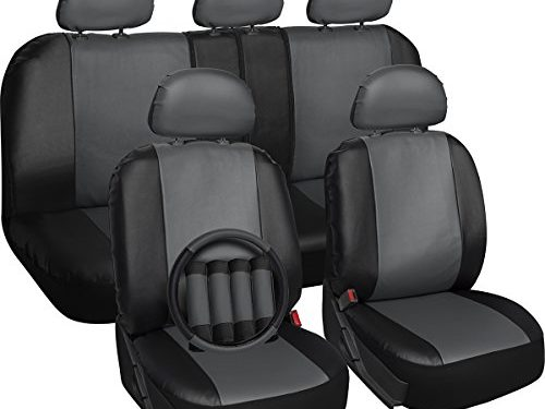 Airbag – Front Low Back Buckets – OxGord 17pc Set PU Leather Car Seat Cover Set – Steering Wheel Cover and Seat Belt Cushion – Universal Fit for Car, Truck, SUV, Van