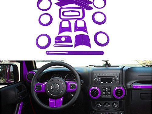 Opall 18PCS Full Set Interior Decoration Trim Kit Steering Wheel & Center Console Air Outlet Trim, Door Handle Cover Inner, Passenger Seat Handle Trim For Jeep Wrangler 2011-2017 4 Door Purple