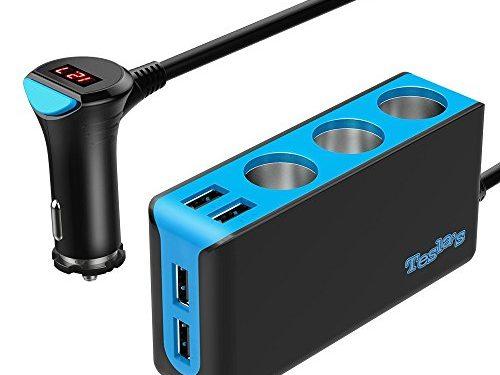Updated Version Tesla's 3-Socket Cigarette Lighter Splitter, 120W 12V/24V Car Power DC Outlet Adapter with 6.8A 4-Port USB Car Charger