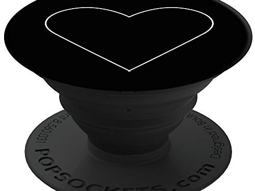 PopSockets: Collapsible Grip & Stand for Phones and Tablets – White Heart Black