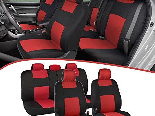 EasyWrap Two-Tone Accent Interior Protection for Auto – BDK PolyCloth Black/Red Car Seat Covers
