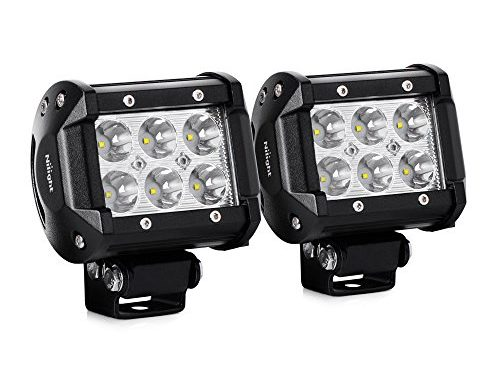Nilight 2PCS 18W 1260lm Spot Driving Fog Light Off Road Led Lights Bar Mounting Bracket for SUV Boat 4″ Jeep Lamp,2 years Warranty