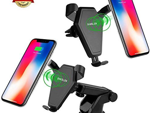 Wireless Car Charger, SHARLLEN Fast Charging Car Mount with Air Vent for Samsung Galaxy S8, S7,S6/S7 Edge, Note 8/5, Standard Charge for iPhone X/8/ 8 Plus& Qi Enabled Devices