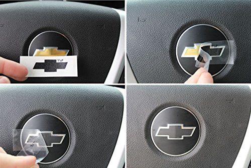Color Silver – 2007-2013 Chevrolet Silverado – Reflective Concepts Steering Wheel Bowtie Overlay Decal