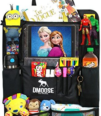 DMoose Car Backseat Organizer with Tablet Holder for Kids and Toddlers 24″ x 19″ Large – Insulated Thermal Pockets, Strong Buckles – Use as Seat Back Protector, Kick Mat, Car Organizer